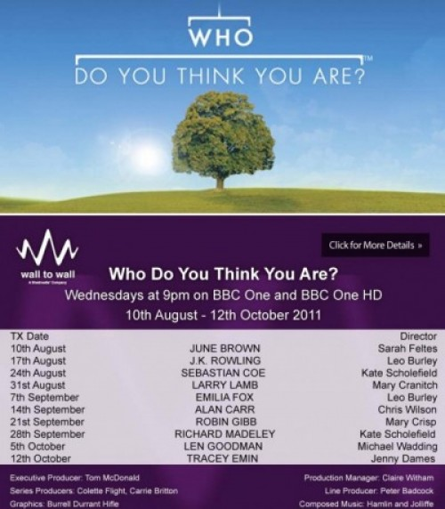 'Who do you think you are?' programme dates autumn 2011